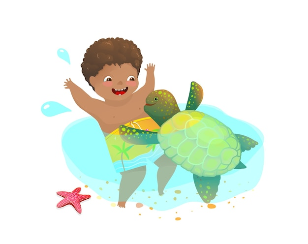 Happy childhood playing with wild sea turtle, little boy and a cute water animal swimming together. Premium Vector