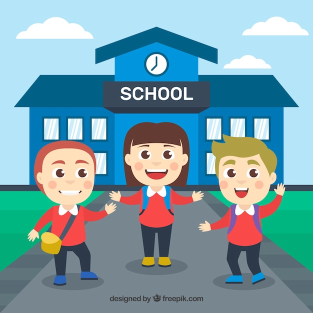 Happy children arriving to school