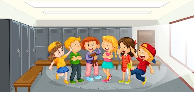 学校で幸せな子供たち 無料ベクター