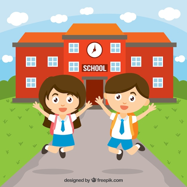 Happy children at school Free Vector