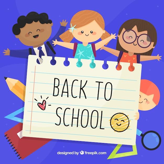 Happy children back to school background Free Vector