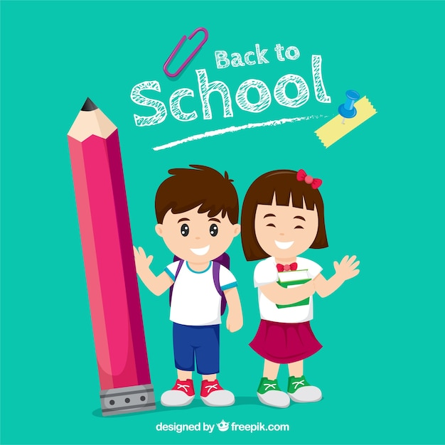 Happy children back to school with flat design Free Vector