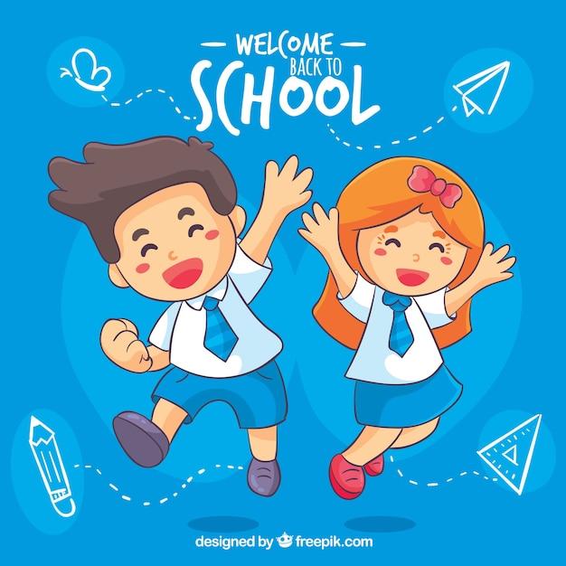 学校の背景に戻って幸せな子供たち Premiumベクター