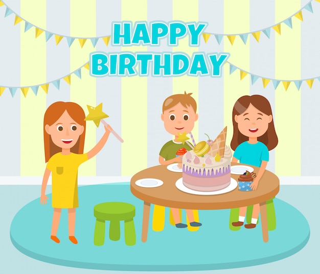 Premium Vector Happy Children Birthday Party Celebration Cartoon