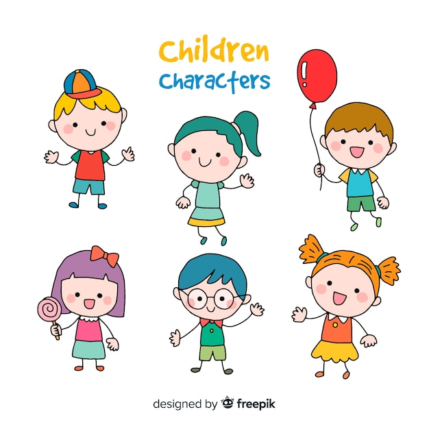 Happy children cartoon collection Free Vector