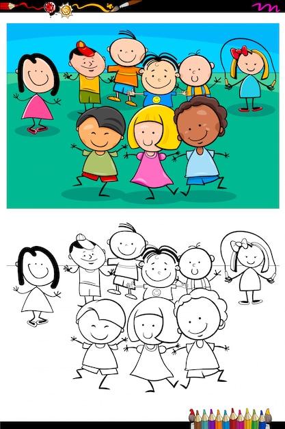 Happy children characters group coloring book Premium Vector