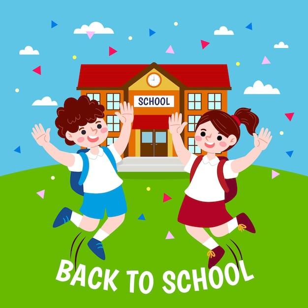 Bambini felici tifo per il concetto di scuola Vettore gratuito