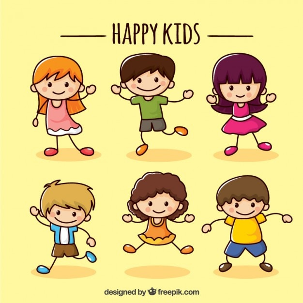 Happy children Collection Free Vector
