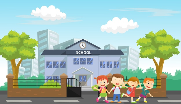 happy children come home from school vector premium download