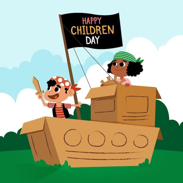 Счастливый детский день плоский дизайн Бесплатные векторы