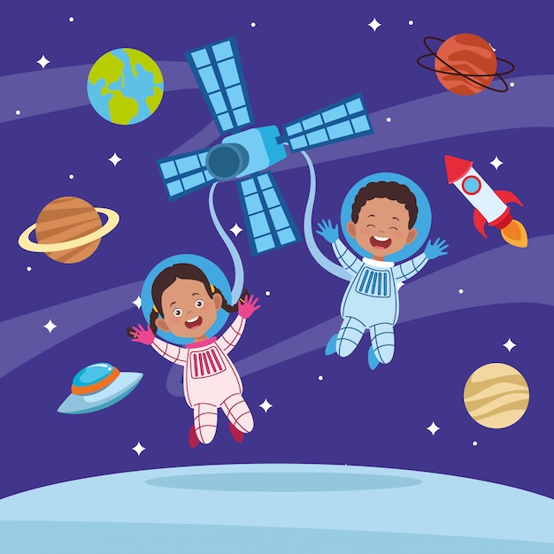Happy children day greeting card with kids couple in the space Premium Vector