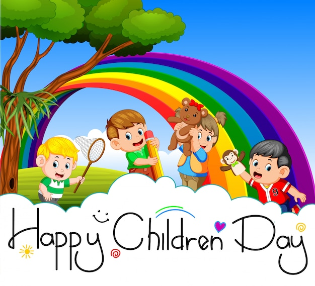 Happy children day poster Premium Vector