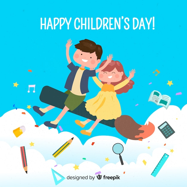 Happy children day wish on illustration Free Vector