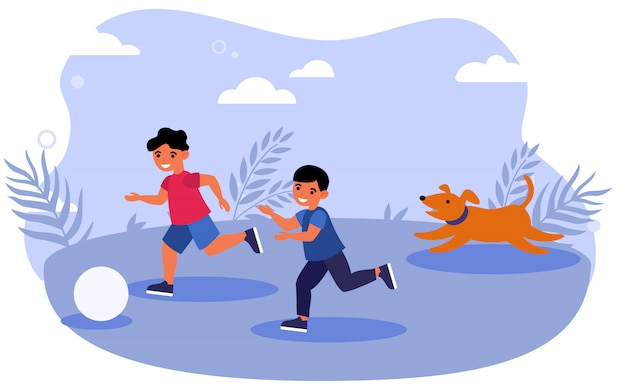 Happy children and dog playing ball outdoors Free Vector