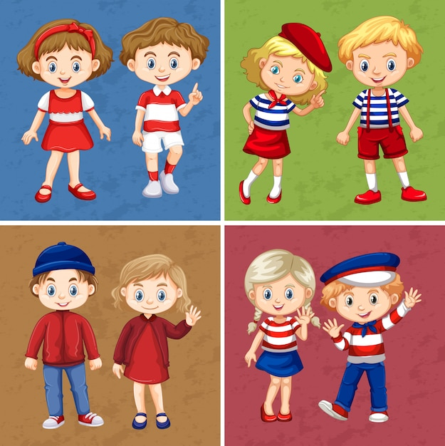 Happy children on four different scenes Free Vector