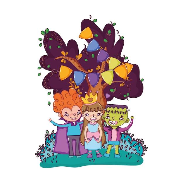 Happy children friends with halloween costumes Vector