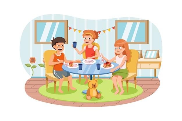 一緒にテーブルに座って、朝食、昼食、夕食の食べ物を食べる幸せな子供たちのグループ。 Premiumベクター