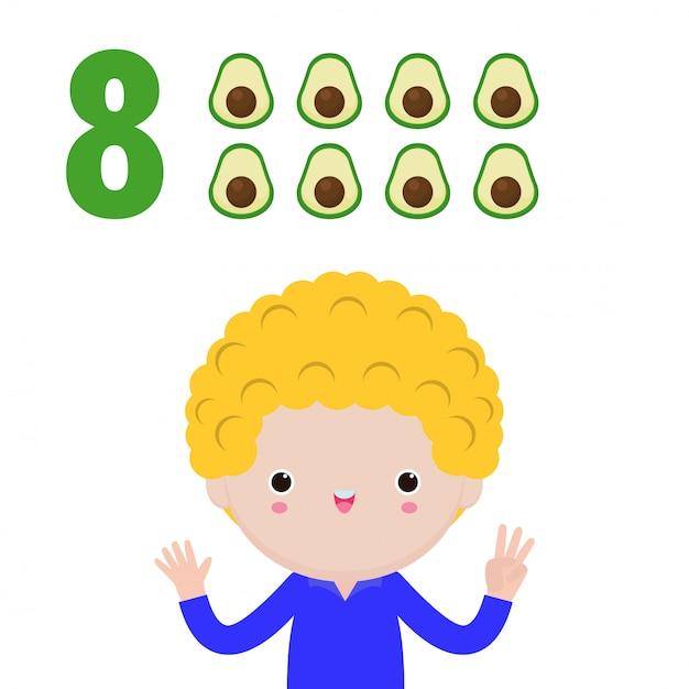 数字の8を示す幸せな子供の手、指で数字を示すかわいい子供たち。小さな子供研究数学数カウントフルーツ教育概念、教材分離図 Premiumベクター