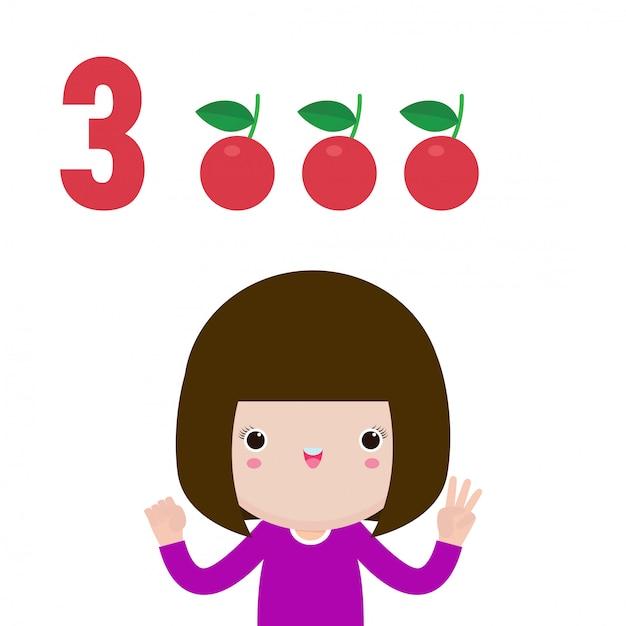 番号3を示す幸せな子供の手、指で番号を示すかわいい子供たち。小さな子供研究数学数カウントフルーツ教育概念、教材分離図 Premiumベクター