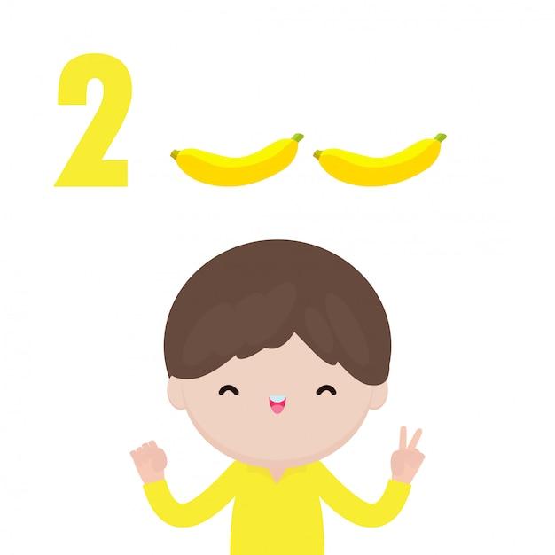 番号2を示す幸せな子供の手、指で番号を示すかわいい子供たち。小さな子供研究数学数カウントフルーツ教育概念、教材分離図 Premiumベクター