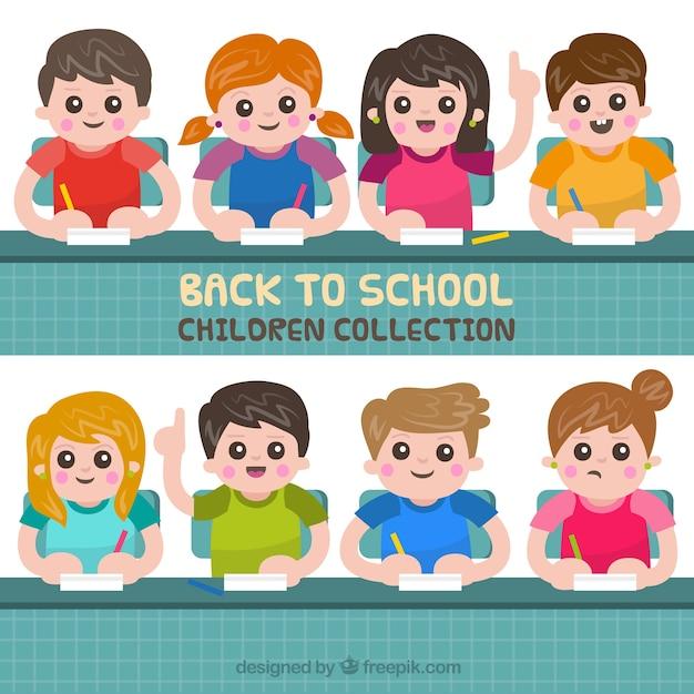 Happy children in class with flat design