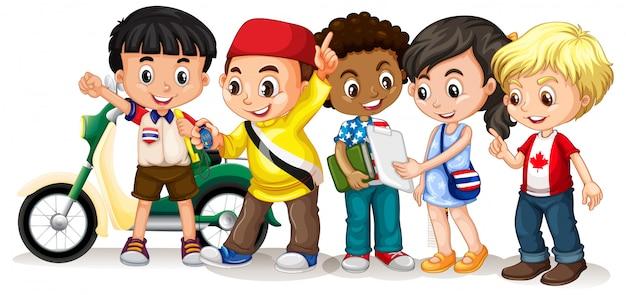 Счастливые дети в разных акциях Бесплатные векторы
