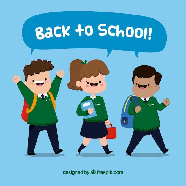 Happy children in school uniform