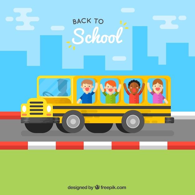 Happy children in the school bus with flat design