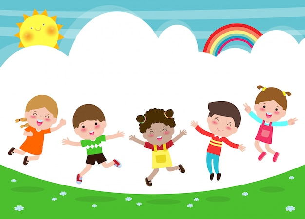 Happy children jumping and dancing on the park, kids activities,  children playing in playground, template for advertising brochure,your text, flat funny cartoon character,  illustration Premium Vector