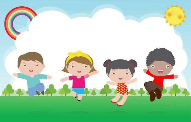 Happy children jumping and dancing on the park, kids activities Premium Vector