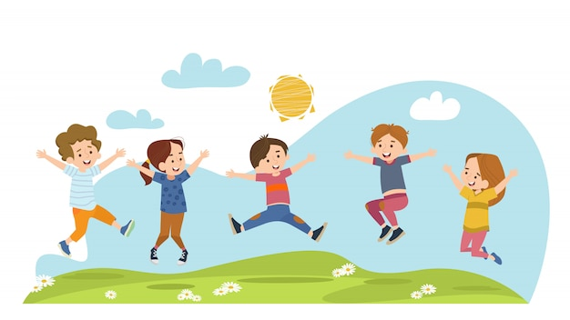 Happy children jumping on summer meadow Free Vector