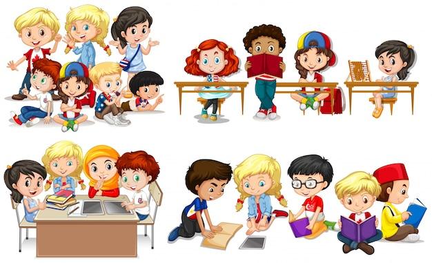 Happy children learning in classroom Premium Vector