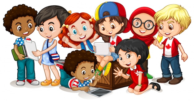 Happy children looking at tablet together Free Vector