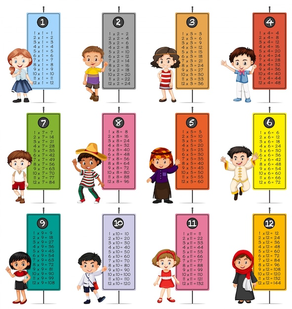 Happy children and multiplication tables Free Vector