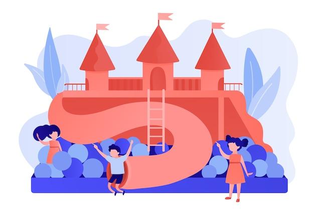 Bambini felici che giocano all'aperto nel parco giochi con scivoli, palline e tubi, persone minuscole. parco giochi per bambini, zona bambini, parco giochi per il concetto di affitto. pinkish coral bluevector illustrazione isolata Vettore gratuito