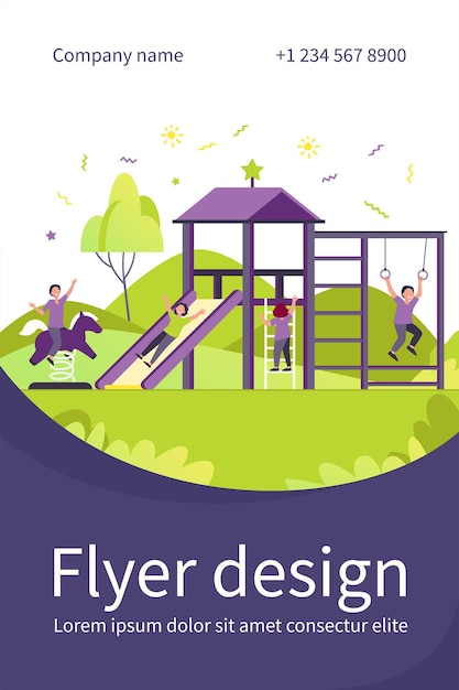 Happy children playing on playground with friends isolated flat flyer template Free Vector