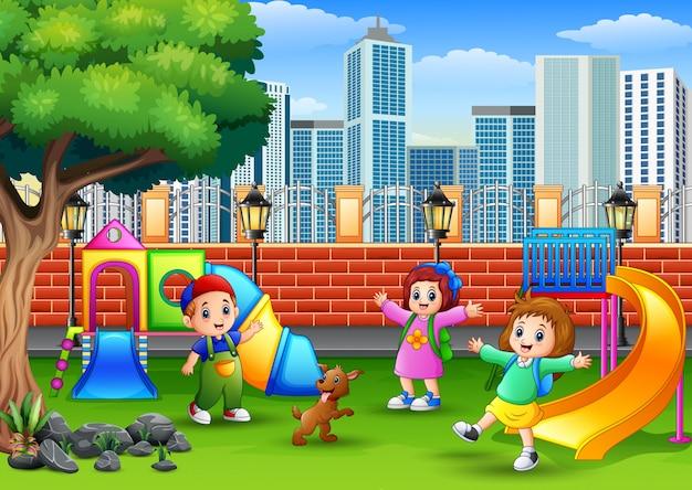 Happy children playing on a public park Premium Vector