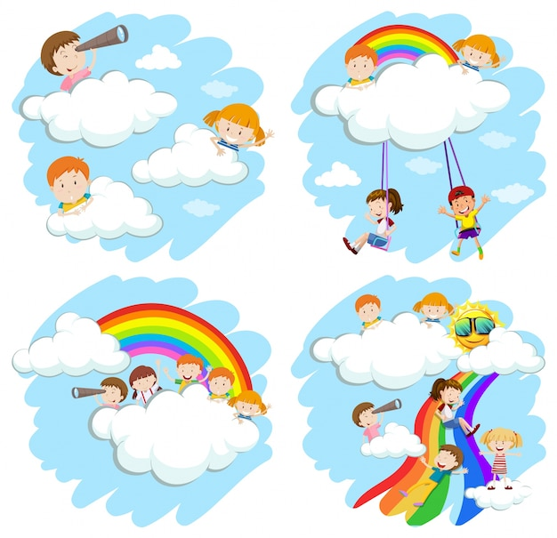 Happy children playing on rainbow illustration Free Vector