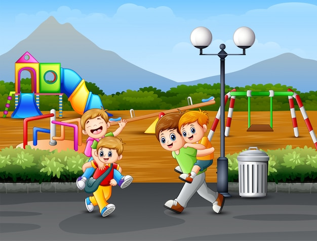 Happy children playing on the road Premium Vector