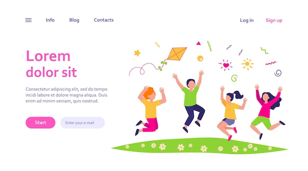 Happy children playing in summer park web template. cartoon cute boys and girls jumping with kite on meadow. Free Vector