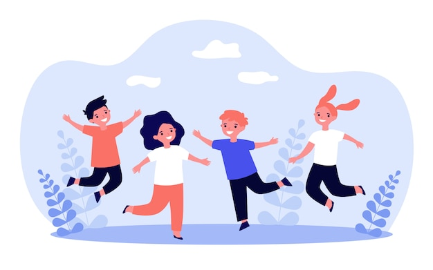 Happy children playing together Premium Vector