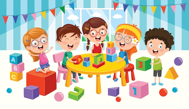 Happy children playing with toys Premium Vector