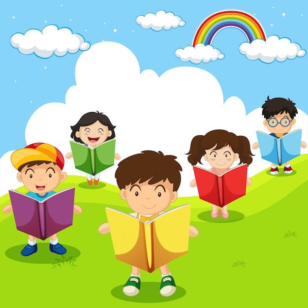 Happy children reading books in park | Premium Vector