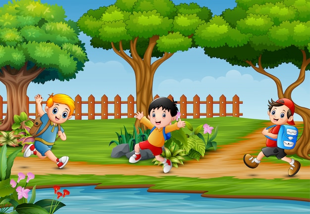 Happy children running around in beautiful nature Premium Vector