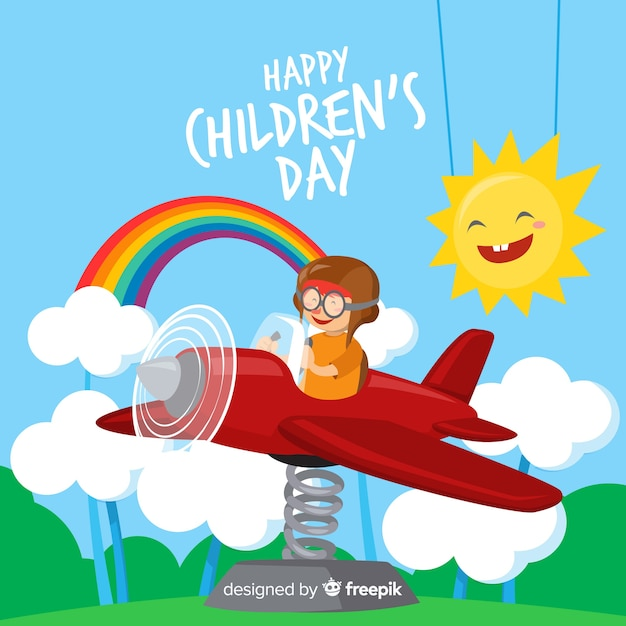 Happy children's day background in flat design Free Vector