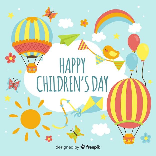 Счастливый детский день фон в плоском дизайне Бесплатные векторы