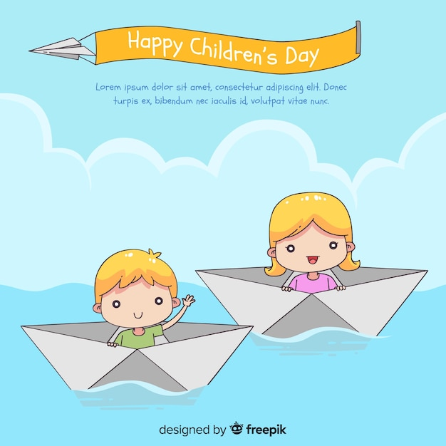 Happy children's day background with kids in paper boats in hand drawn style Free Vector