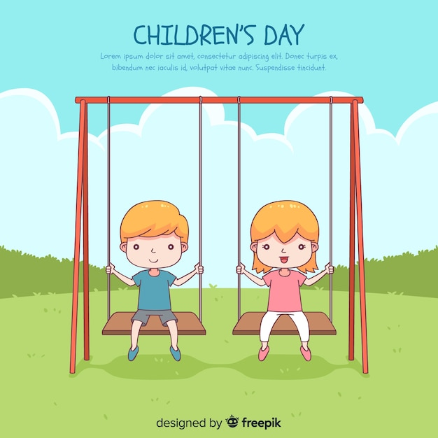 Happy children's day background with kids in swing in hand drawn style Free Vector