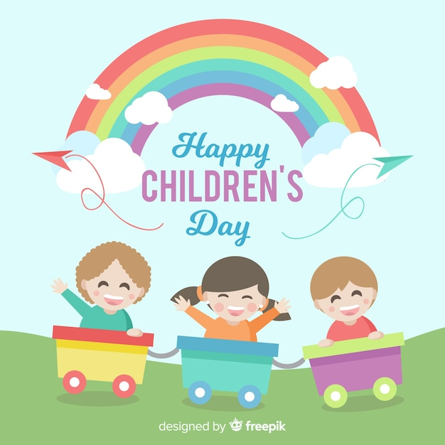 Happy children's day background with kids in train and rainbow Free Vector