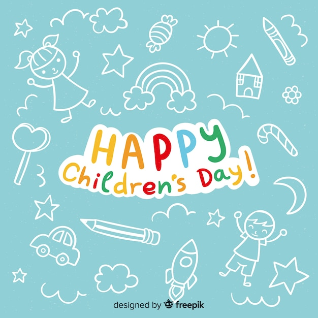 Happy children's day background with lettering Premium Vector